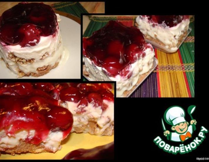 Рецепт: Пирожное без выпечки Красная шапочка