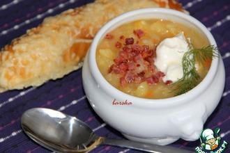 Рецепт: Картофельный суп-толчeнка с квашеной капустой