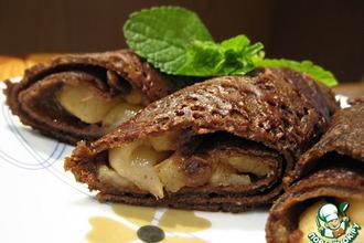Рецепт: Шоколадные блинчики с карамельными яблоками