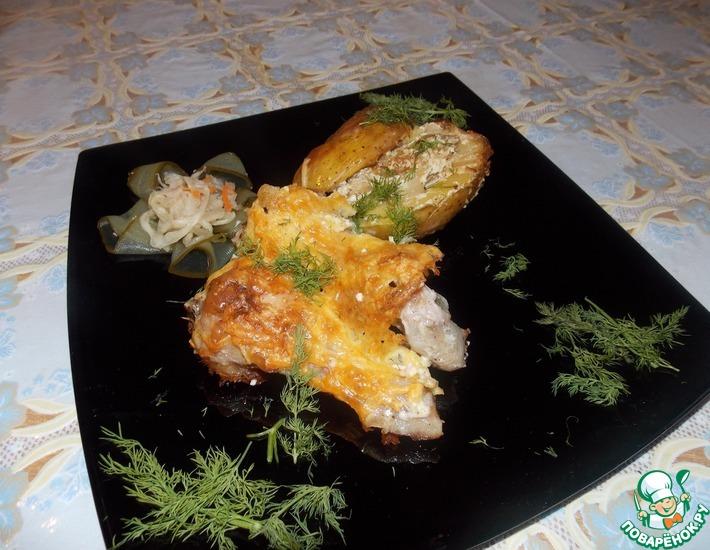 Рецепт: Курица с фаршированным картофелем