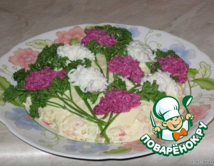 """Рецепт: Салат """"Ветка сирени"""""""