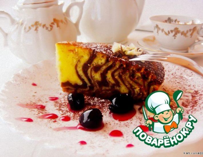 Рецепт: Пирог Шоколадная зебра с вишней