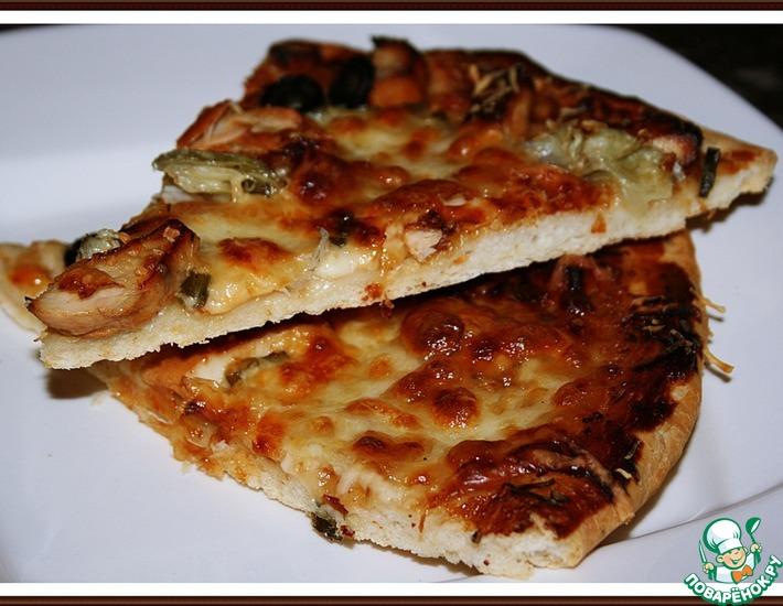 Рецепт: Оригинальная пицца-барбекю с курицей