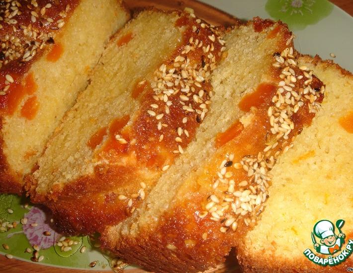 Рецепт: Апельсиновый кекс с курагой и кунжутом