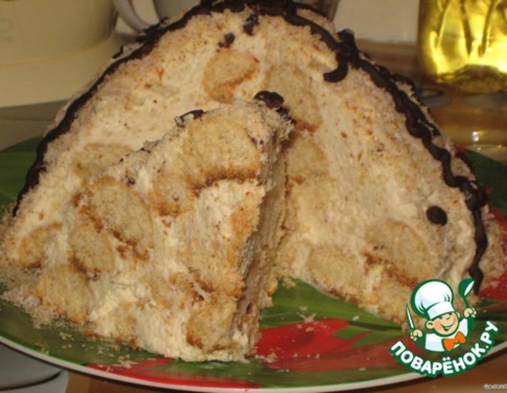 Рецепт: Торт «Кокосовая горка – «А-ля Рафаэлло»