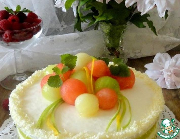 Рецепт: Йогуртовый торт с дыней
