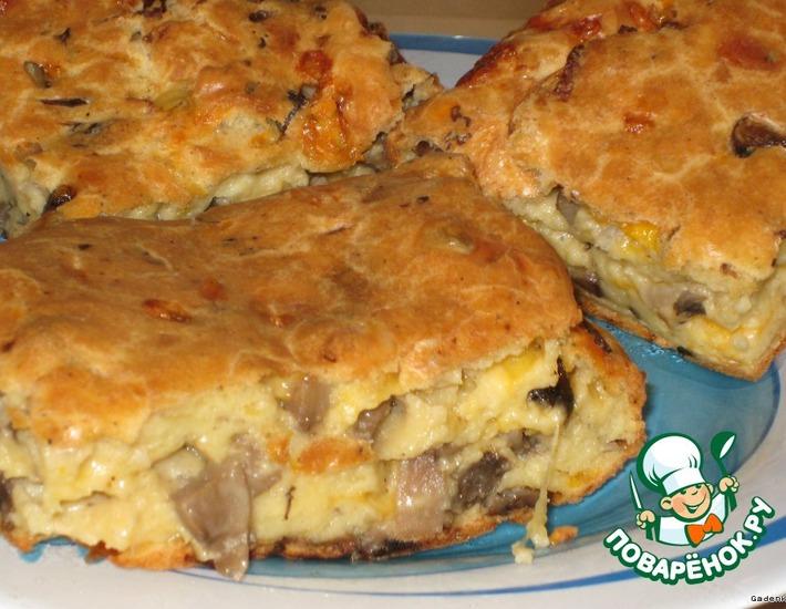 Рецепт: Грибной пирог с сыром в заварном тесте