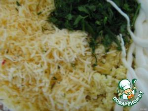 Приготовить сырный салат - сыр натереть на мелкой тёрке, яйцо размять вилкой, чеснок и зелень измельчить, заправить майонезом.