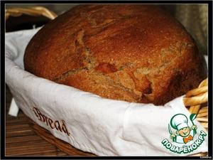 Заложить ингредиенты для хлеба в порядке согласно закладке продуктов в инструкции к Вашей хлебопечке (от сухих ингредиентов к воде либо наоборот).   Выпекать хлебушек средней величины в режиме