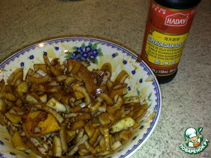 Onions sliced and marinated in soy sauce for 15 minutes