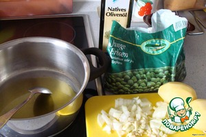 Лук, чеснок и тимьян мелко режем, тушим в оливковом масле 5 минут