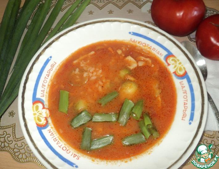 Рецепт: Суп с кальмарами, рисом и брюссельской капустой