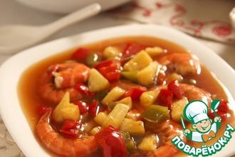 Рецепт: Королевские креветки в кисло-сладком соусе