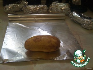 Each tuber wrap in foil and bake in the oven until cooked.