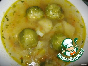Cover the pot with a lid and cook for 20-25 minutes. Readiness is determined by the softness kochanchikov Brussels sprouts