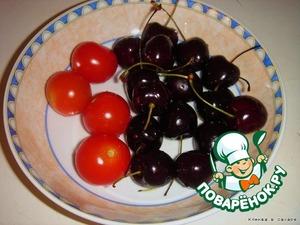Из такого количества черешни и томатов получается примерно 200 мл. гаспачо.