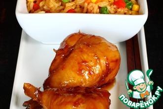 Рецепт: Глазированные куриные голени и рис по-кантонски