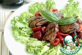 Рецепт: Салат из куриной печени с черешней