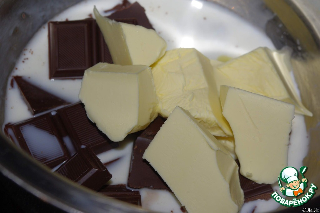 Молочное желе с шоколадным кремом
