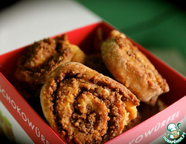 Рецепт: Карамельное печенье с ореховым пралине