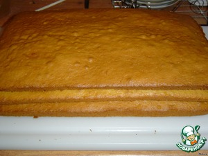 Protiven lubricated with oil, divide the dough into three parts and in turn, laying on a baking sheet, bake three layers at a temperature of 180 degrees 15 minutes.