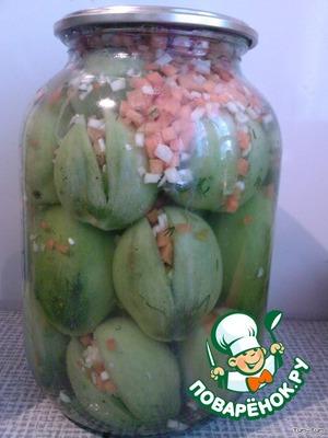 Банки с помидорами и рассолом стерилизуем по 15 мин. (3-х литровую). Готово!