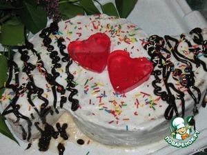 На следующий день вынимаем торт и украшаем по желанию.    Я разрезала торт на две части и сдвинула их один относительно другого.   Желе залила в силиконовые формочки в виде сердечка.