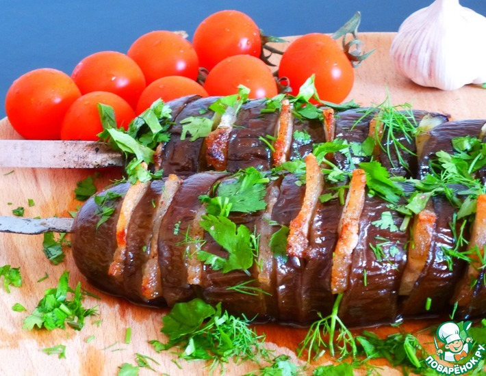 Рецепт: Баклажаны с салом на мангале