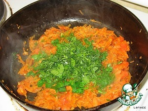 add chopped tomato pulp and herbs.