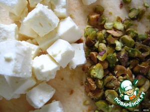 feta - cubes;  grind the pistachios with a knife.