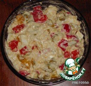 Добавить тертый и нарезанный сыры, перец и оливки в конце. Масса должна получиться довольно густой, как на кекс.