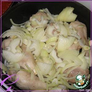 The chicken dobavlen onion and garlic...