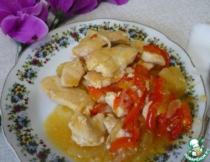 Рецепт: Куриная грудка с ананасами в кисло-сладком соусе