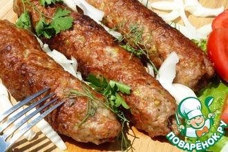 Рецепт: Люля-кебаб с соусом «Терияки» и фисташками