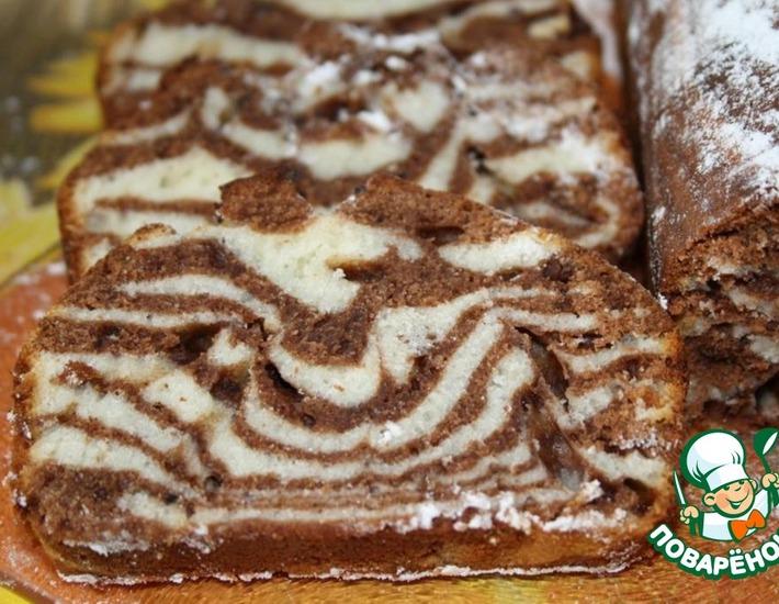 Рецепт: Мраморный кекс на сгущенке