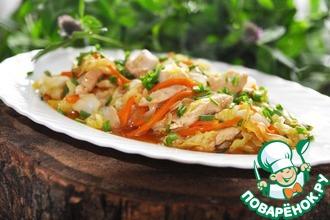 Рецепт: Стир-фрай из курицы и молодой капусты