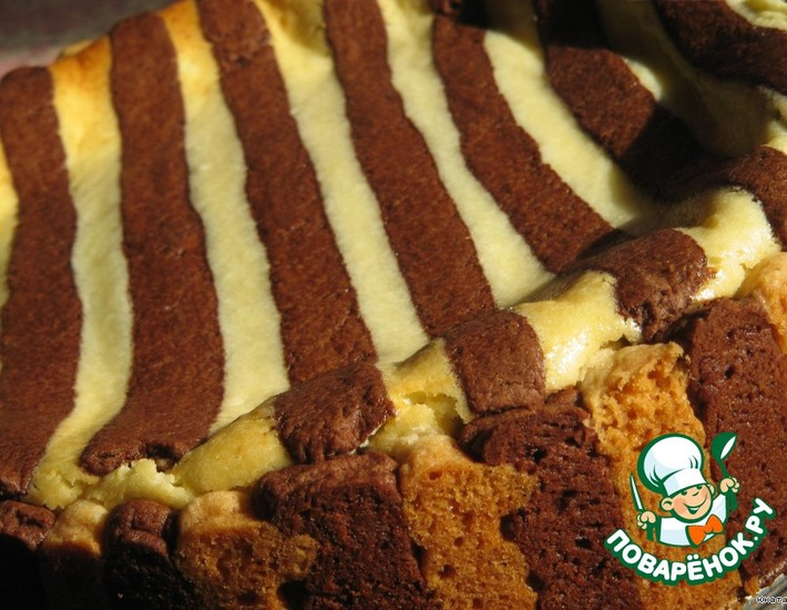 Рецепт: Творожный пирог Зебра