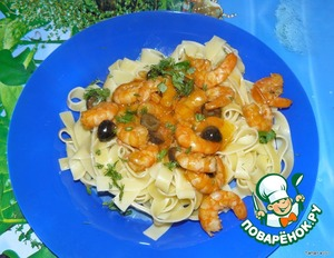 5. On a dish place the pasta and top with shrimp Sosua.