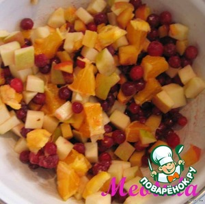 Fruit cut into small pieces, mix with berries