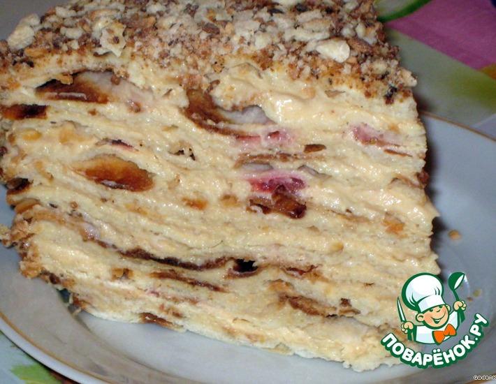 Рецепт: Торт слоеный сливочный Сашка
