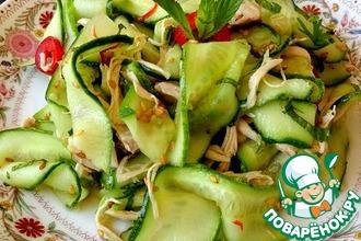 Рецепт: Салат из огурцов и курицы