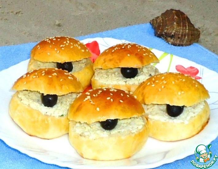 Рецепт: Бутерброды Ракушки с черным жемчугом