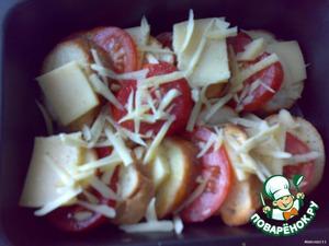 Форму смазываем маслом и выкладываем багет, сыр и помидоры, как черепицу. Сбрызгиваем маслом, посыпаем перцем, тертым сыром (слегка) и отправляем в разогретую до 180гр духовку на 10 мин.