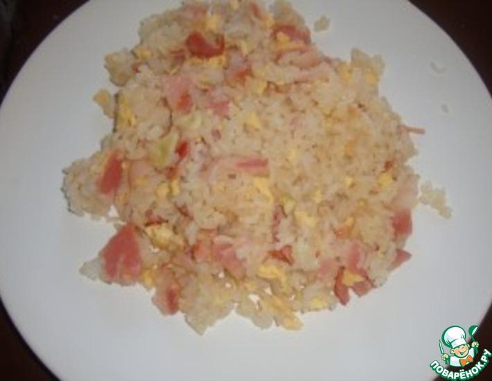 Рецепт: Жареный рис с яйцом и беконом