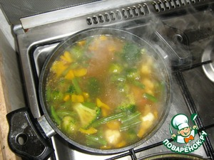 В кипяток сначала закладываем фасоль, брюссельскую и цветную капусту. Даем покипеть минуты 3, и складываем остальные продукты, включая приправы, кроме базилика. Бульон по - вкусу, а пасту карри не более одной чайной ложки. Еще 5-7 минут, и суп готов. Перед тем, как выключить плиту, добавить базилик.