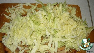 Cabbage finely chop, fry