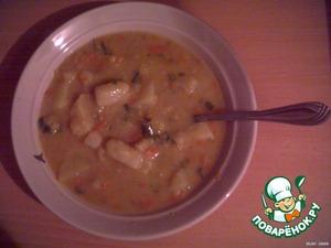 Нарезаем зелень, добавляем к готовому супу, размешиваем, разливаем по тарелкам и кушаем с удовольствием!   Приятного аппетита!