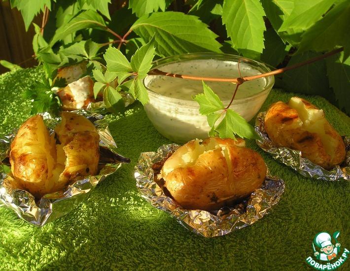 Рецепт: Запеченный картофель с творогом