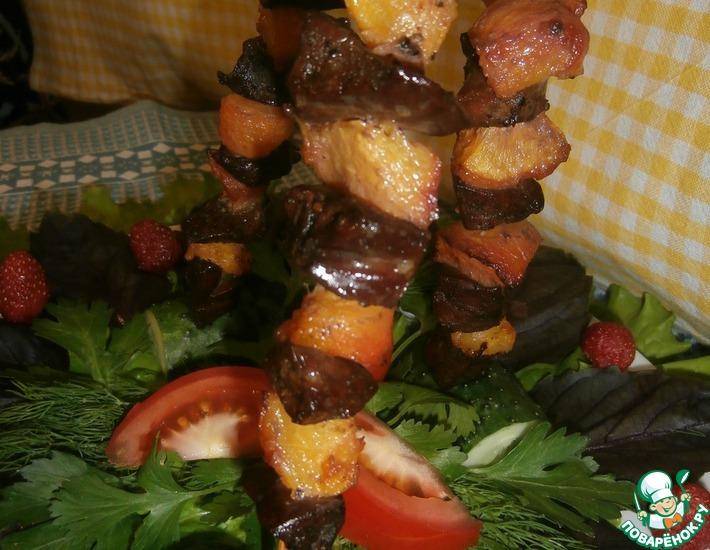 Рецепт: Шашлык-печень индейки с персиками