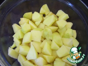 After 10 minutes add the chopped potatoes and butter